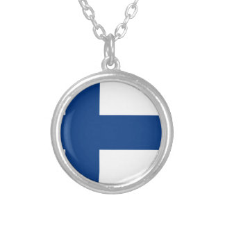 Low Cost! Finland Flag Silver Plated Necklace