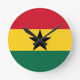 Low Cost! Ghana Flag Round Clock