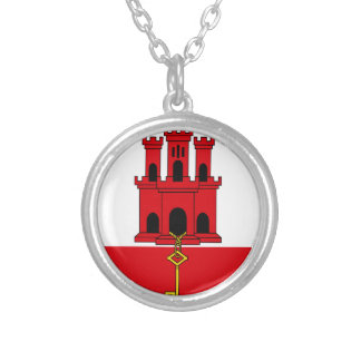 Low Cost! Gibraltar Flag Silver Plated Necklace