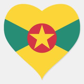 Low Cost! Grenada Flag Heart Sticker
