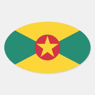 Low Cost! Grenada Flag Oval Sticker