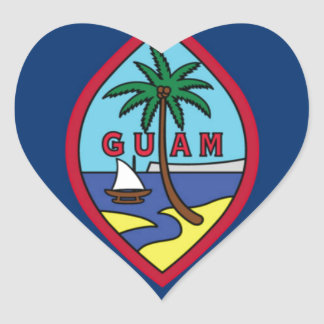 Low Cost! Guam Flag Heart Sticker