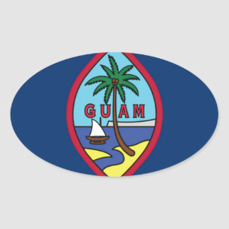 Low Cost! Guam Flag Oval Sticker