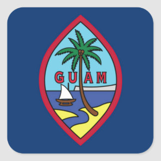 Low Cost! Guam Flag Square Sticker