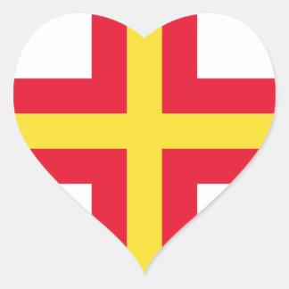 Low Cost! Guernsey Flag Heart Sticker