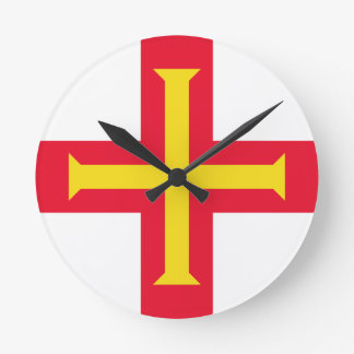 Low Cost! Guernsey Flag Round Clock