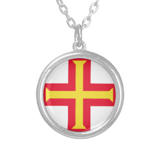 Low Cost! Guernsey Flag Silver Plated Necklace