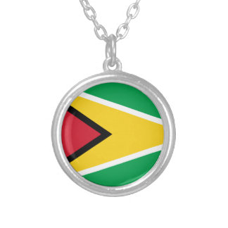 Low Cost! Guyana Flag Silver Plated Necklace