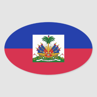 Low Cost! Haiti Flag Oval Sticker