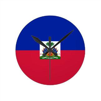 Low Cost! Haiti Flag Round Clock