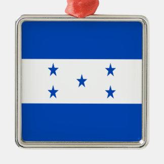 Low Cost! Honduras Flag Silver-Colored Square Ornament