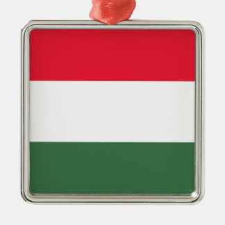 Low Cost! Hungary Flag Silver-Colored Square Ornament