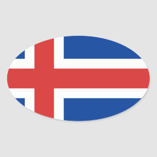Low Cost! Iceland Flag Oval Sticker