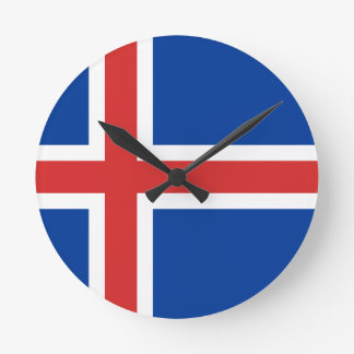 Low Cost! Iceland Flag Round Clock