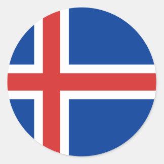 Low Cost! Iceland Flag Round Sticker