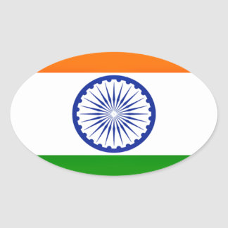 Low Cost! India Flag Oval Sticker