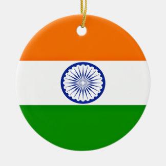 Low Cost! India Flag Round Ceramic Ornament