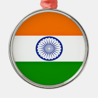 Low Cost! India Flag Silver-Colored Round Ornament