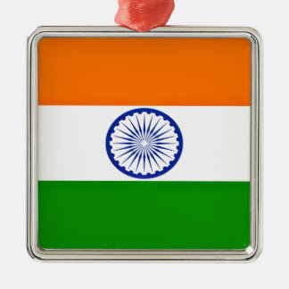 Low Cost! India Flag Silver-Colored Square Ornament
