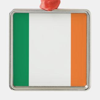 Low Cost! Ireland Flag Silver-Colored Square Ornament