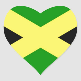 Low Cost! Jamaica Flag Heart Sticker