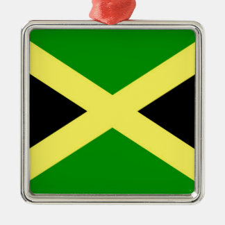 Low Cost! Jamaica Flag Silver-Colored Square Ornament