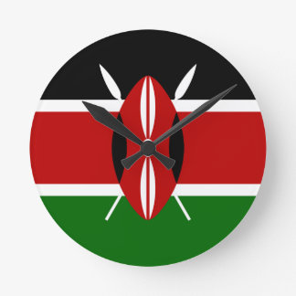 Low Cost! Kenya Flag Round Clock
