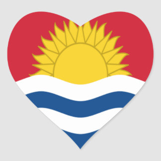 Low Cost! Kiribati Flag Heart Sticker