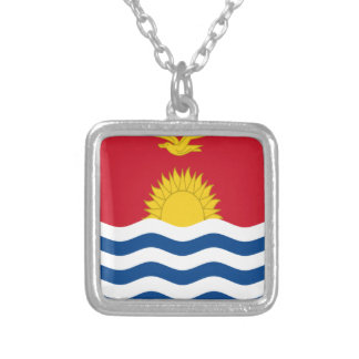Low Cost! Kiribati Flag Silver Plated Necklace
