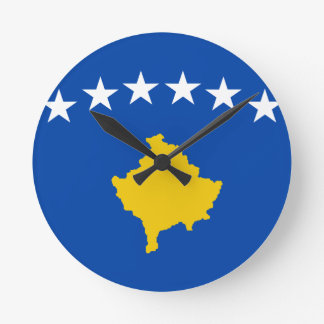 Low Cost! Kosovo Flag Round Clock