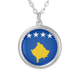 Low Cost! Kosovo Flag Silver Plated Necklace