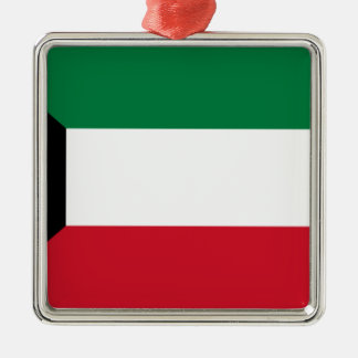 Low Cost! Kuwait Flag Silver-Colored Square Ornament