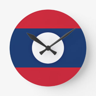 Low Cost! Laos Flag Round Clock