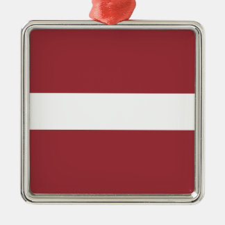 Low Cost! Latvia Flag Silver-Colored Square Ornament