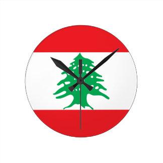Low Cost! Lebanon Flag Round Clock