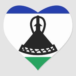 Low Cost! Lesotho Flag Heart Sticker