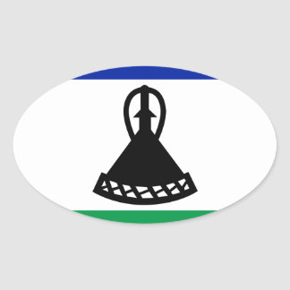 Low Cost! Lesotho Flag Oval Sticker
