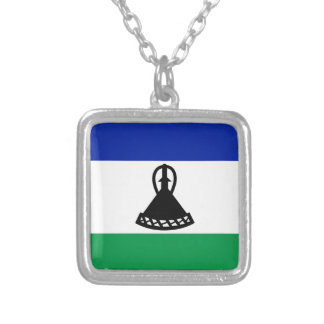 Low Cost! Lesotho Flag Silver Plated Necklace