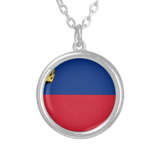 Low Cost! Liechtenstein Flag Silver Plated Necklace