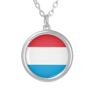 Low Cost! Luxembourg Flag Silver Plated Necklace