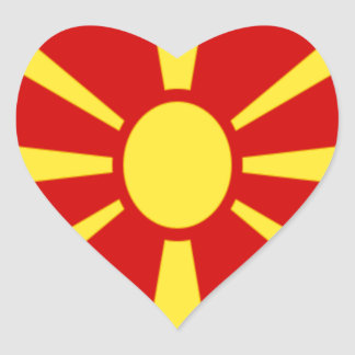 Low Cost! Macedonia Flag Heart Sticker