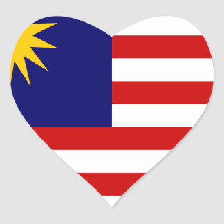 Low Cost! Malaysia Flag Heart Sticker