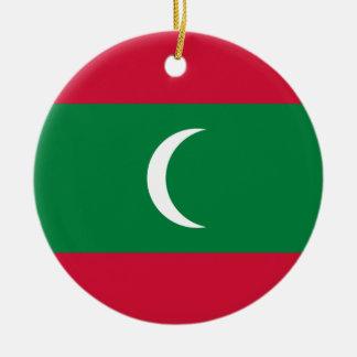 Low Cost! Maldives Flag Round Ceramic Ornament