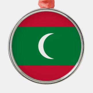 Low Cost! Maldives Flag Silver-Colored Round Ornament