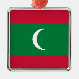 Low Cost! Maldives Flag Silver-Colored Square Ornament