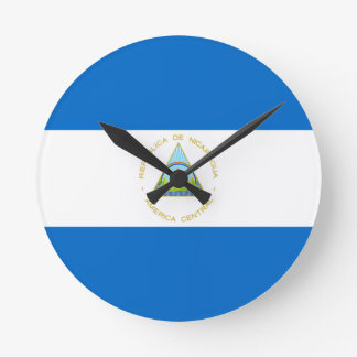 Low Cost! Nicaragua Flag Round Clock