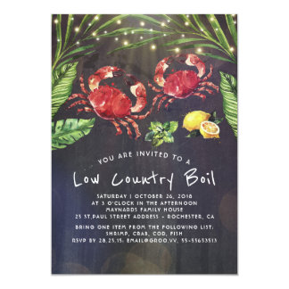 Low Country Boil Crab Cookout Dinner Party Card
