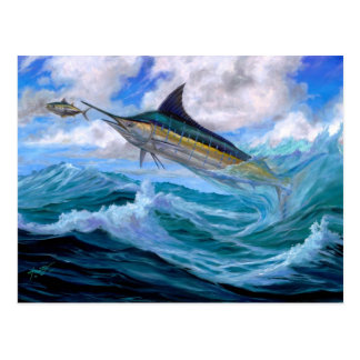 Low Flying Blue Marlin Postcard