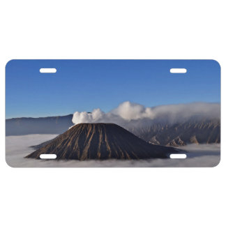 Low Hanging Clouds At Volcano Bromo In The Morning License Plate