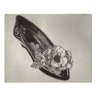 Low-Heeled Pump with Silk Flower Pen-and-Ink Poster